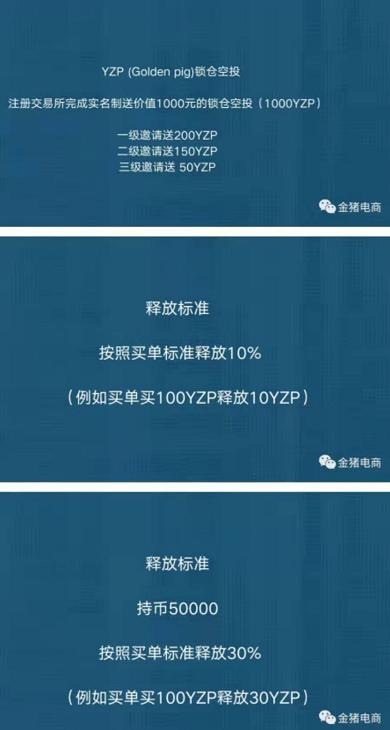 关注金猪电商领取1000枚YZP,三级邀请200/150/50枚,活动仅5天!